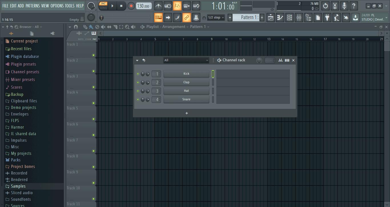creare batteria fl studio