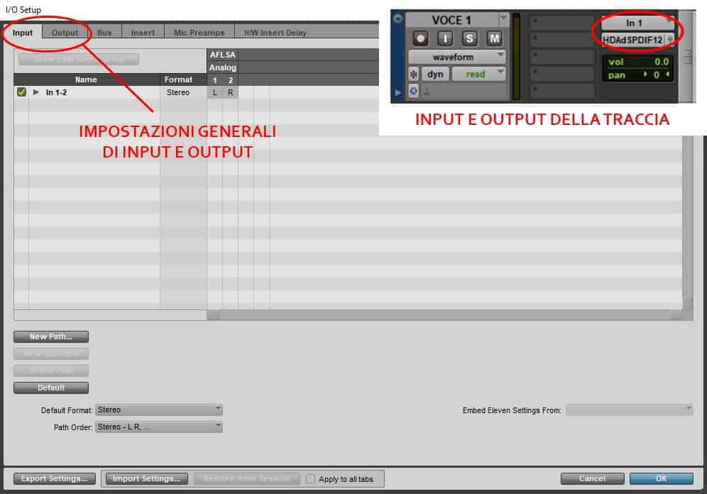 input output settings pro tools