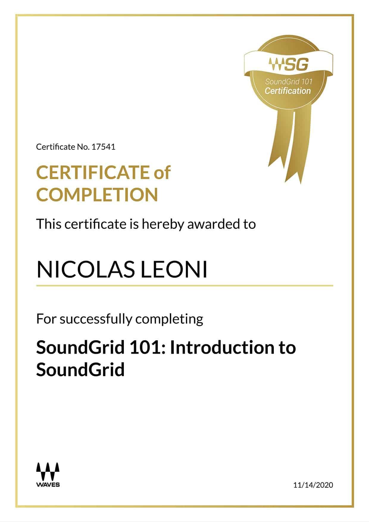 Certificato Waves SoundGrid 101