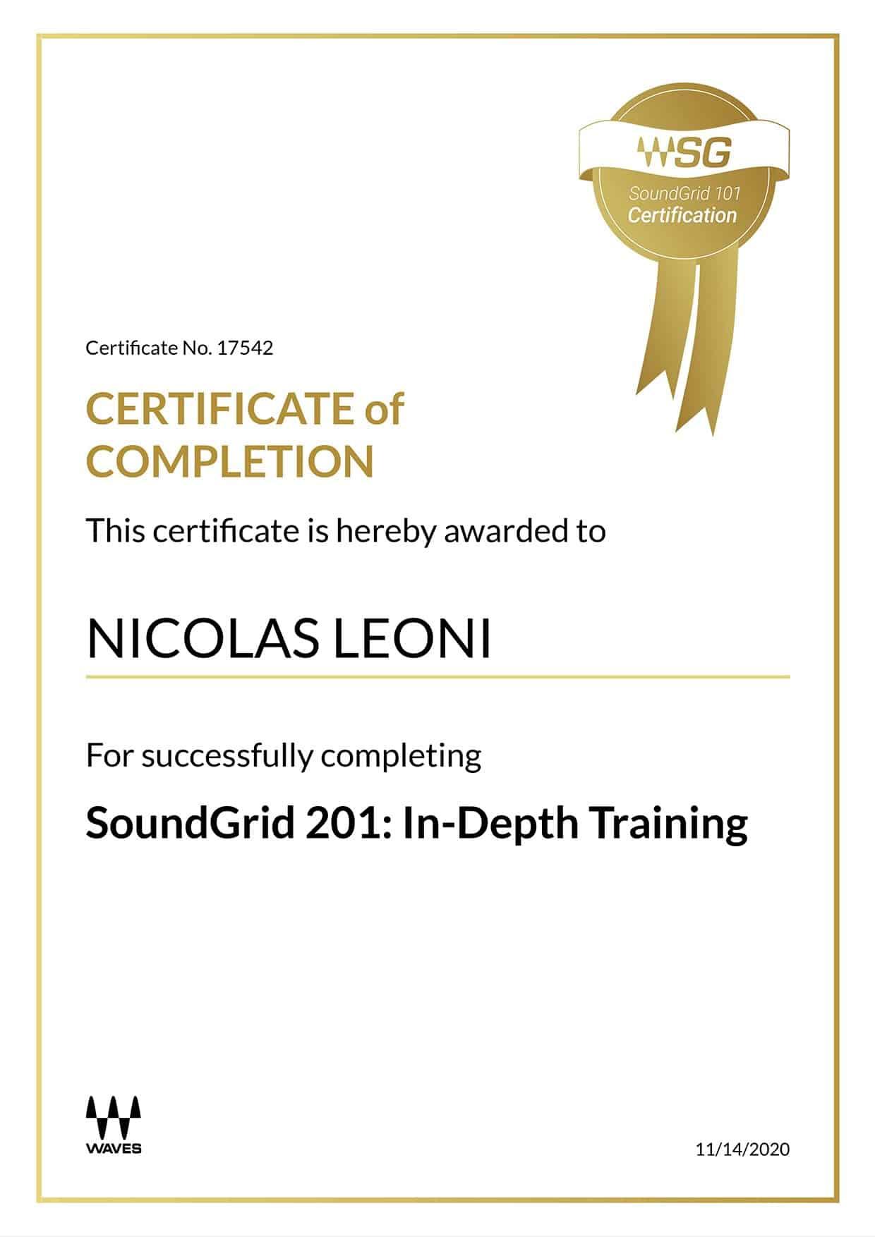 Certificato Waves SoundGrid 201