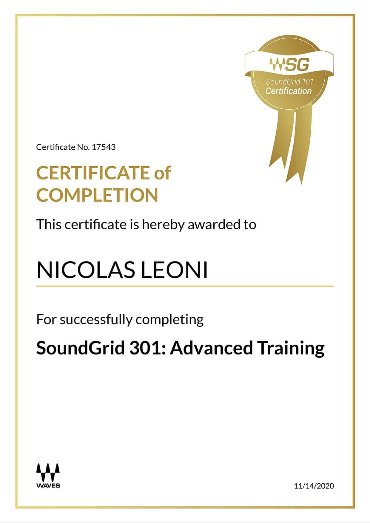 Certificato Waves SoundGrid 301